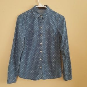 The Limited size XS blue polka dots shirt